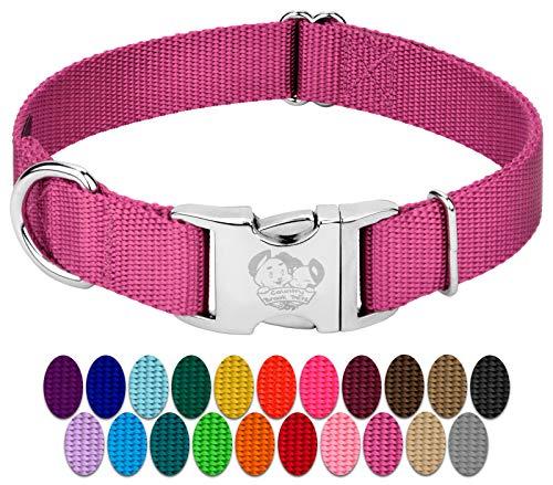 Country Brook Petz – Collar de perro de nailon premium con hebilla de metal – vibrante selección de 24 colores (grande, 1 pulgada de ancho, rosa)
