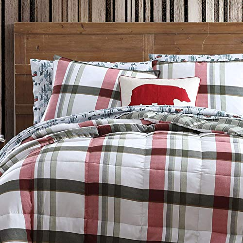 Eddie Bauer | Stanton Plaid Collection | Super Soft and Cozy, Plush Comforter with Matching Shams, Reversible Bedding Set, King, Green