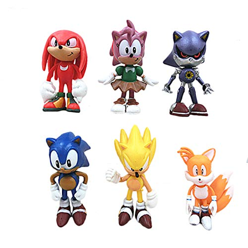 6 Pcs Sonic Hedgehog figures Characters set of 6 Action Figure Toys Premium Sonic Cake Toppers Sonic cake decorations and Party Favors for sonic party supplier birthday