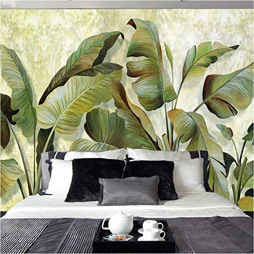 Gepersonaliseerd wandbehang voor woonkamer, banaanbladeren, retro-stijl, 3D-vliesbehang, fotobehang, zonder naden, thuisdecoratie 400 x 280 cm