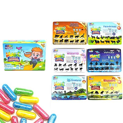 GosuToys Magic Grow Capsules Creatures - 6 Theme Packs with 12 Capsules Each - Farm, Sea, Unicorns, Dinosaurs, Safari, Vehicles (6 Pack (1 of Each Theme))