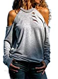 Asyoly Fall Casual Open Cold Shoulder Tops for women Hollowed Out Long Sleeve Sweatshirts T Shirt Women Sexy Halter Neck Top Pullover Tunic Blouses 2020 Fashion gray Small