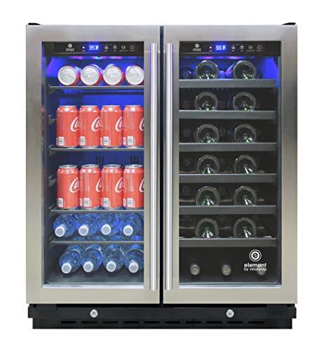 Vinotemp EL-30SWCB2D 30-Inch Wine & Beverage Refrigerator, Wine Cooler, One Size, Black/Stainless