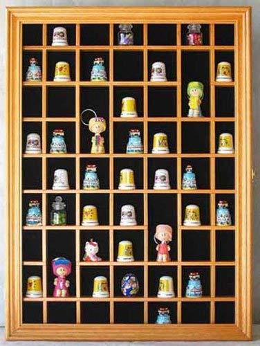 59-Opening Souvenir Thimble Small Miniature Display Case Cabinet Rack Holder, Glass Door, Lockable (Oak Finish)