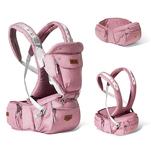 SUNVENO Baby Hipseat Ergonomic Baby Carrier Soft Cotton 6 in 1 Safety Infant Newborn Hip Seat for Home, Outdoor, Travel, 6-36 Months Babies Girls and Boys, Pink