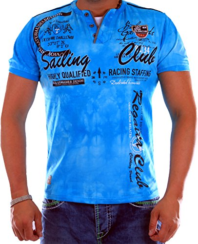Verwaschenes Herren T-Shirt Sailing Club Slim Fit (Bis 5XL) 2879 (M-Slim, Türkis 2879)