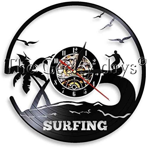 Reloj de pared de vinilo con diseño de palmeras y tabla de surf para deportes acuáticos, ideal como regalo