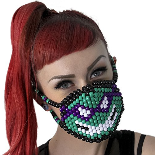 Kandi Gear Mascara Kandi Quirurjica de Donatello Tortugas Ninja TMNT, mascara kandi, pulcera de rave, mascara para halloween, mascara con cuentas, mascara praa festivales musicales y fiestas