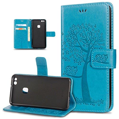 ikasus Coque Huawei P10 Lite Etui Motif relief d'arbre deux hiboux Cuir PU Housse Etui Coque Portefeuille supporter Carte de crédit Poches Flip Case Etui Housse Coque pour Huawei P10 Lite,Bleu