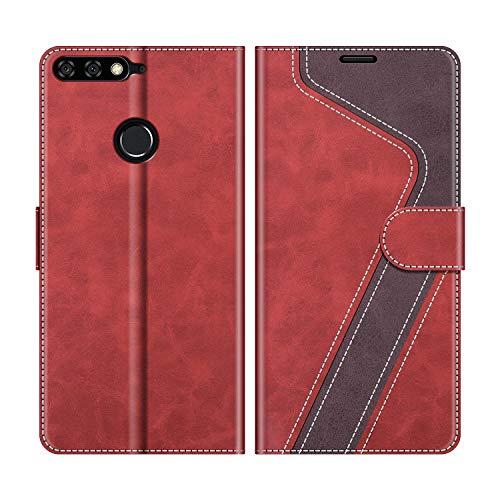 MOBESV Handyhülle für Huawei Y7 2018 Hülle Leder, Honor 7C Handyhülle, Huawei Y7 2018 Klapphülle Handytasche Hülle für Huawei Y7 2018 / Honor 7C Handy Hüllen, Modisch Rot