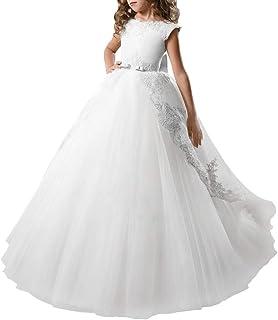 OBEEII Niñas Vestidos de Comunión sin Mangas Encaje Apliques Elegantes Princesa Vestidos de Fiesta Boda Noche Ceremonia Ga...