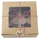 AIQI Caja para cupcakes y cuerda, con ventana y guarniciones, 4 soportes, 16 x 16 x 7,5 cm, cajas de galletas con pegatinas para pasteles, galletas, pasteles, cupcakes (15 unidades)