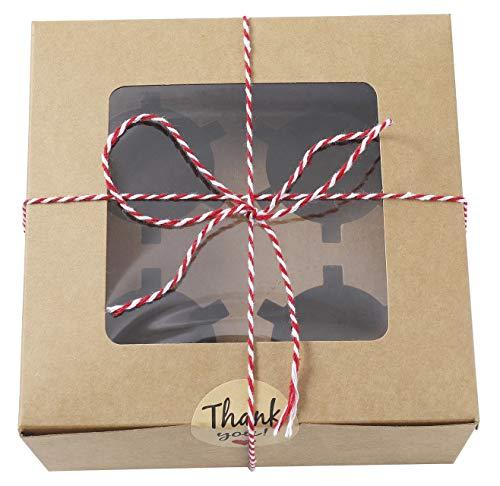 AIQI Caja para cupcakes y cuerda, con ventana y guarniciones, 4 soportes,...
