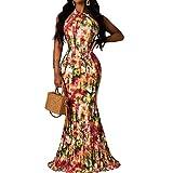 Woman Long Floral Dress - Boho Floral Halter Sexy Summer Beach Maxi Dress Casual Vacation Sun Dresses Orange XL