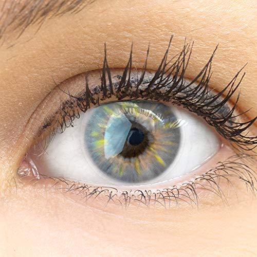 GLAMLENS lentillas de color grises Sevilla Gray + contenedor. 1 par (2 piezas) - 90 Días - Sin Graduación - 0.00 dioptrías - blandos - Lentes de contacto gris de hidrogel de silicona