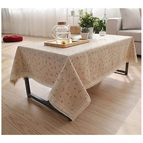 Manteles de algodón y lino de encaje rectangular mantel de mesa de estilo simple natural multiusos para interior y exterior, Madera. Lino algodón, cereza, 55'' Wide*80'' Length (140*203 CM)