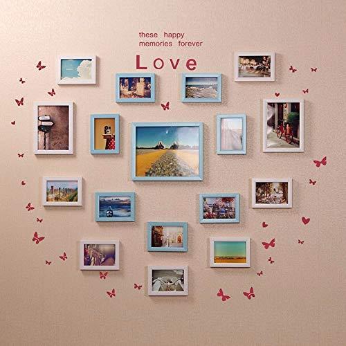 WTT 17 doos in hartvorm muur woonkamer fotolijst creatieve combinatie van wanden voor slaapkamermeubels, wit roze