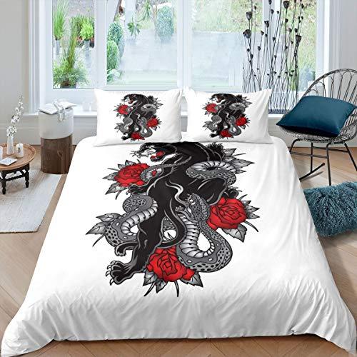 Juego de funda de edredón con diseño de leopardo, color negro, para niños, niñas, rosa, serpiente, funda de edredón con 2 fundas de almohada, 3 unidades