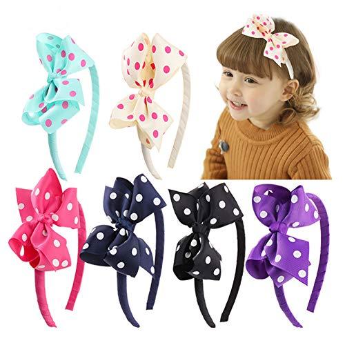 Dusenly 6 Stück gepunktete Schleife Haarbänder schöne handgefertigte Schleife Stirnband Kinder Mädchen Haarschmuck buntes Haarband