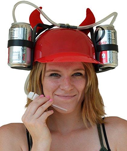 Fairly Odd Novelties Beer & Soda Guzzler Helmet & Drinking Hat, Red With Devil Horns,