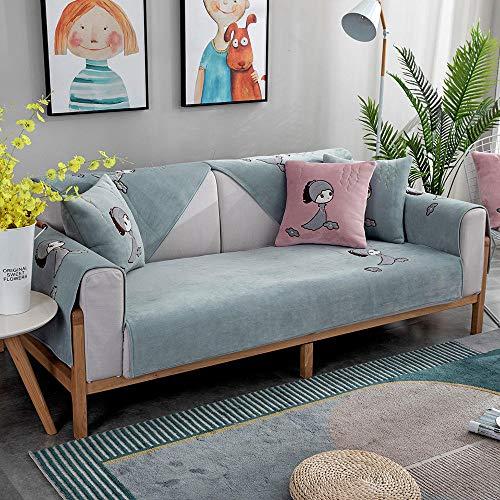 Funda de Sofá Chaise,Cotton Thick Corner Sofa Slipcover,Living Room Fabric Sofa Covers,for 1/2/3/4/5 Seater Sofa,Cojines de sofá Bordados de Terciopelo-Azul Claro_Los 90×210cm
