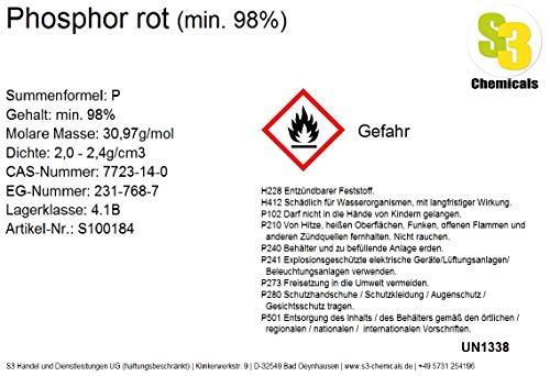 S3 Chemicals Phosphor rot (min. 98%) Gebindegröße 1kg
