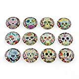 Craftdady 10pcs 25mm Assorted Skull Patterns Glass Cabochons Flatback Half Round Dome Cabs for Jewelry Craft Making