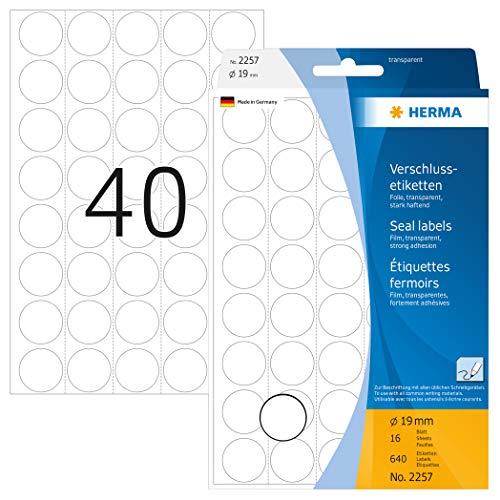 HERMA 2257 Verschlussetiketten transparent rund (Ø 19 mm, 16 Blatt, Folie, matt) selbstklebend, extrem stark haftende Haushaltsetiketten zur Handbeschriftung, 640 Haftetiketten, durchsichtig
