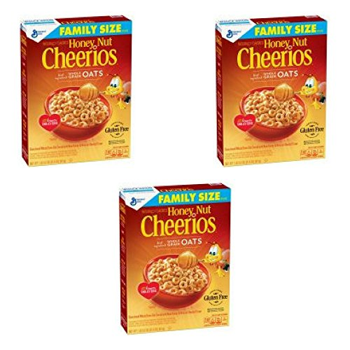 General Mills Honey Nut Cheerios Gluten Free Cereal Family Size 21.6 oz Box (Pack of 3)