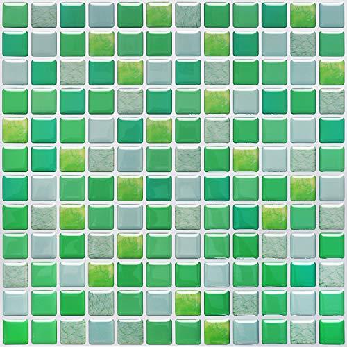 SHINGONE 3D Fliesenaufkleber Mosaik Wandaufkleber Wohnzimmer, Selbstklebende 3D-Mosaik-Fliesenaufkleber Fliesen Sticker für Küche, Fliesensticker Badezimmer Grün 4er Pack (23.6 x 23.6cm)