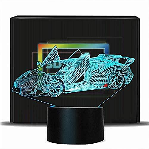 Lámpara de ilusión 3D para coche deportivo, 7 cambios de color, táctil, 16 colores, con mando a distancia, luz nocturna para bebé, dormitorio, decoración infantil, regalo de Navidad