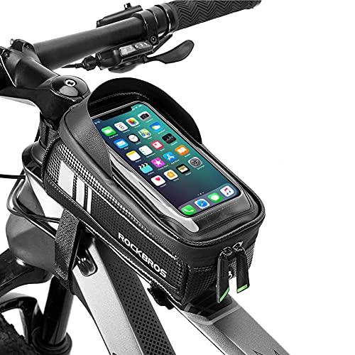 ROCKBROS Fahrrad Rahmentasche Lenkertasche wasserdichte Oberrohrtasche Touchscreen für Smartphones bis zu 6.5 Zoll