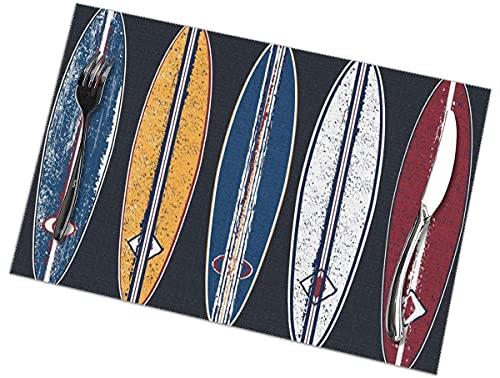 Tcerlcir Manteles Individuales con diseño de Tablas de Surf de Colores, Juego de 6 manteles Individuales para Mesa de Comedor, fáciles de Limpiar, Lavables, para Cocina, 12 x 18 Pulgadas