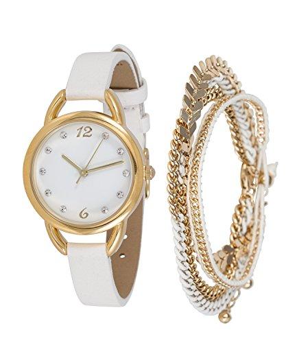 SIX Schönes Schmuckset: Weiße Damenuhr mit DREI goldfarbenen Armketten, ideal zum Verschenken, einfacher Batteriewechsel, inkl. Box (388-286)