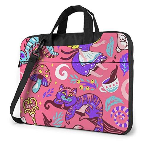 15.6 Inch Laptop Bag Cute Cartoon Alice Fairytale Laptop Briefcase Shoulder Menger Bag Case Sleeve