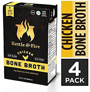 Chicken Bone Broth Soup by Kettle and Fire, Pack of 4, Keto Diet, Paleo Friendly, Whole 30 Approved, Gluten Free, with Collagen, 10g of protein, 16.2 fl oz