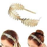 Dusenly - Diadema, de estilo vintage, bohemio, tiara con diseño de hojas para novia, corona romana de diosa, tocado boho para el pelo, (dorado)