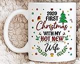 N\A Nuestra Primera Navidad de 2020 Primera Navidad de Casados Primera Navidad con mi Nueva Esposa Caliente Primera Pareja Regalos de Marido de Navidad Taza de café