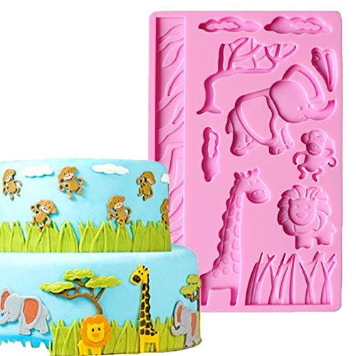 DUBENS 3D Spitze Silikon Dschungel Zoo Tier Fondant Kuchen Keks Schokolade Form Form für Küche Backen Dessert Dekoration, Elefant Giraffe AFFE Löwe