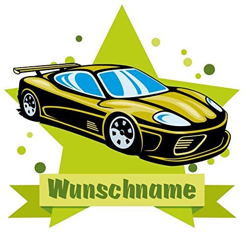 Samunshi® Cooles Auto Wandtattoo Türschild mit Name personalisierbar Kinderzimmer Türaufkleber Baby Wandaufkleber in 9 Größen (25x22cm Mehrfarbig)