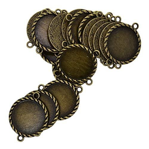 dailymall 20Pcs Alloy Metal Jewelry Connectors Leere Lünette Tray Armband Passen 1 Zoll Runde Glaskuppel Fliesen - Bronze