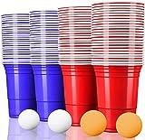 MOZOOSON 100x Trinkbecher Beer Pong Becher Partybecher Set Rot und Blau 473ml Cups mit Bällen, 16oZ...