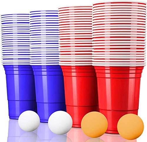 MOZOOSON 100x Trinkbecher Beer Pong Becher Partybecher Set Rot und Blau 473ml Cups mit Bällen, 16oZ für Getränke Party Camping Neues Jahr Weihnachten Geburtstag Festivals