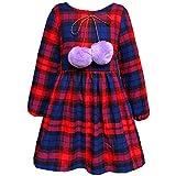 Kseniya Kids Big Little Girls Cotton Dresses Plaid Lantern Sleeve Wool Ball Girl Spring Autumn Dress (9-10y) Black
