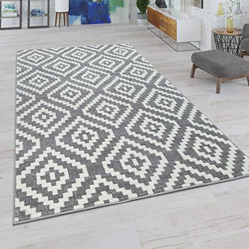Paco Home Wohnzimmer Teppich, Rauten Muster in Pastell Farben, Moderner Boho Ethno Look, Grösse:70x140 cm, Farbe:Grau-Weiß