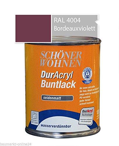 DurAcryl Buntlack Bordeauxviolett 125 ml RAL 4004 Seidenmatt Schöner Wohnen