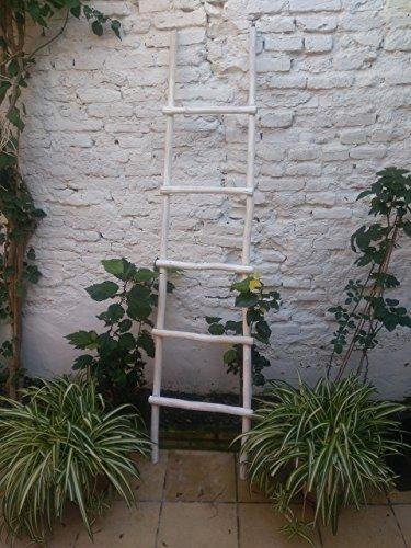 BUSCOCARPINTERO Escalera Madera Decorativa Vintage RÚSTICA Retro 180 CM X 45 CM Blanca 5 PELDAÑOS TOALLERO Zapatero