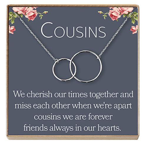 Cousins Necklace: Cousins Gift, Cousins Jewelry, Interlocking Circles Silver, 2 Interlocking Circles (silver-plated-brass, NA)