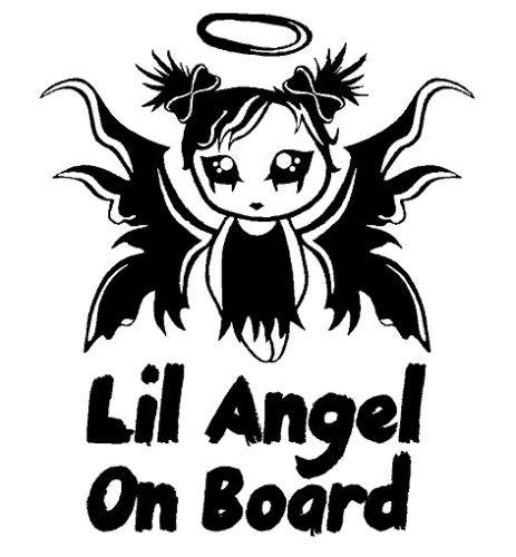 myrockshirt® Aufkleber Little Angel on Board Emo Gothic 17 cm Autoaufkleber Auto Sticker Lack Heckscheibe Baby Bord aus