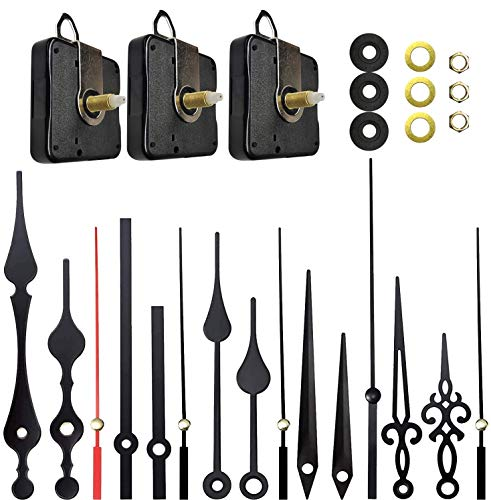 Sweetone 3 Piezas Mecanismo de Movimiento de Reloj de Eje Largo y Alto Torque con 5 Diferentes Pares de Manecillas para DIY Reparación de Reloj Reemplazo de Piezas para Reloj de Pared